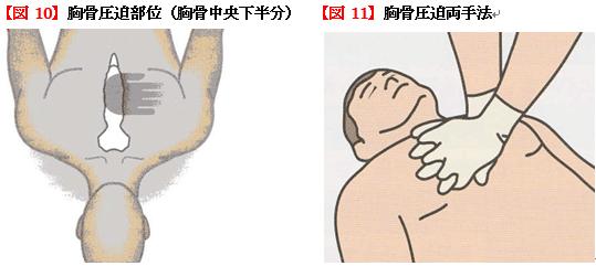 胸骨圧迫部位、胸骨圧迫両手法